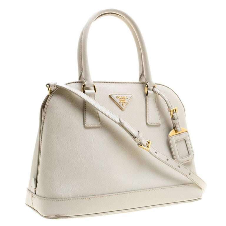 12ce508b1039 Prada Off White Saffiano Lux Leather Promenade Tote In Good Condition For Sale  In Dubai