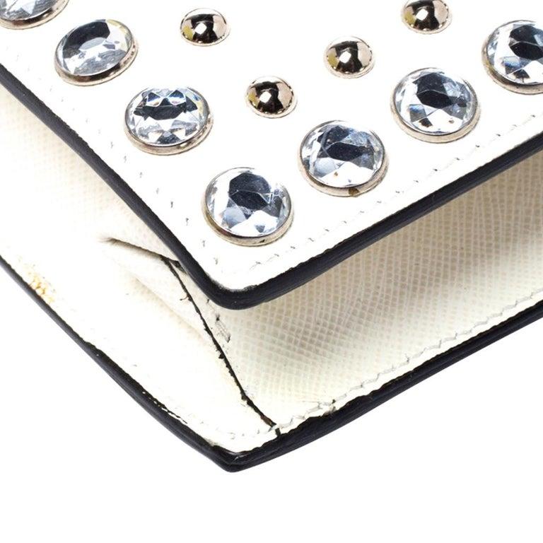 Prada Off White Studded Saffiano Leather Mini Sound Crossbody Bag For Sale 6