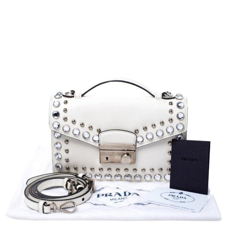 Prada Off White Studded Saffiano Leather Mini Sound Crossbody Bag For Sale 8