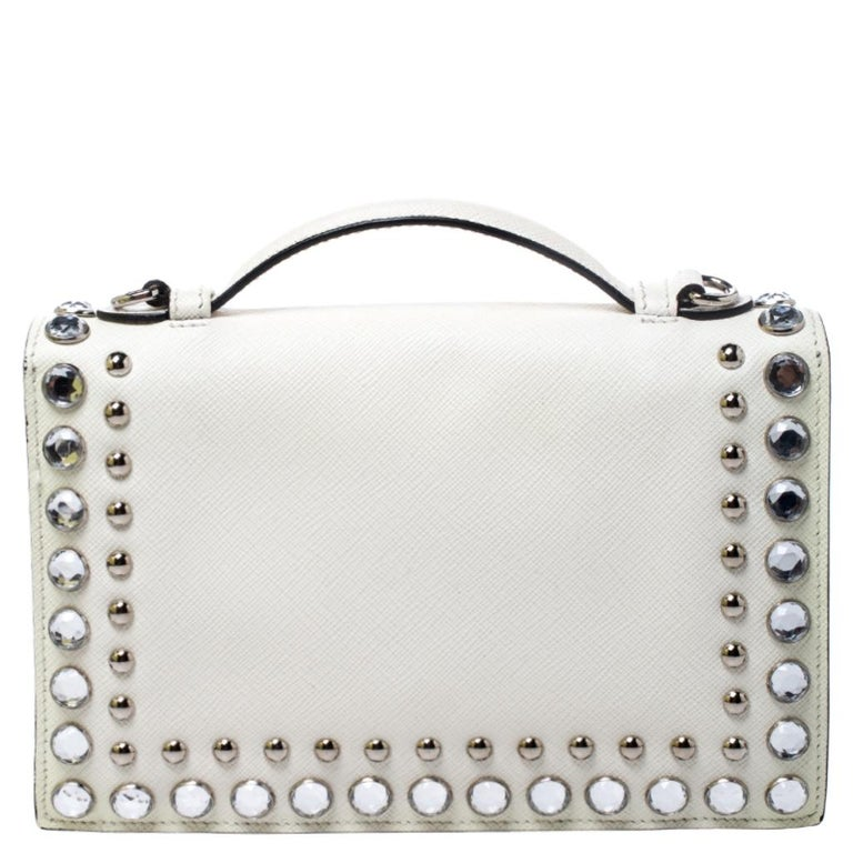 Off White Studded Saffiano Leather Mini