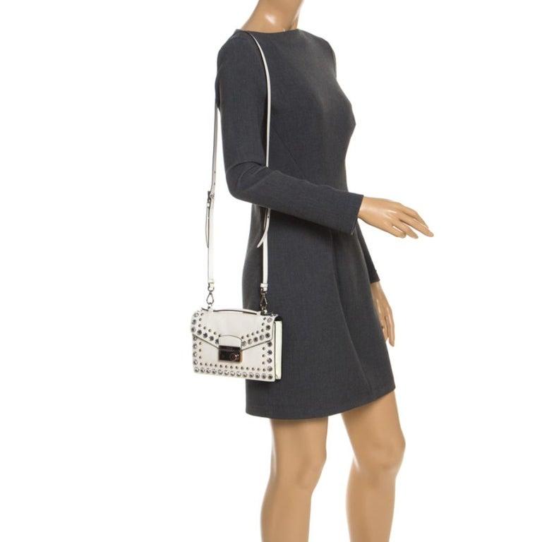 Prada Off White Studded Saffiano Leather Mini Sound Crossbody Bag In Excellent Condition For Sale In Dubai, Al Qouz 2