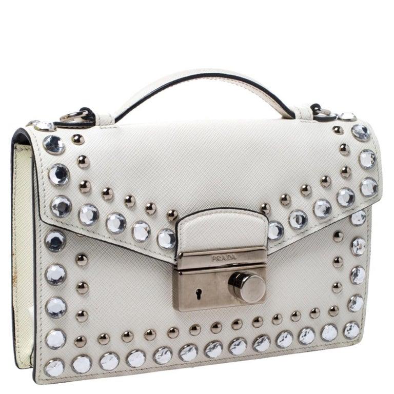 Women's Prada Off White Studded Saffiano Leather Mini Sound Crossbody Bag For Sale