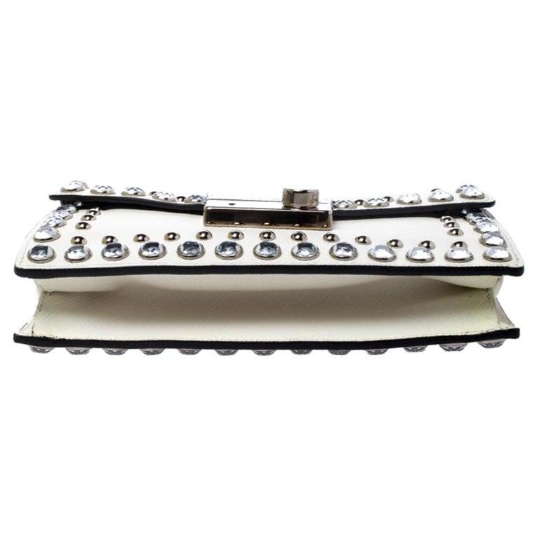 Prada Off White Studded Saffiano Leather Mini Sound Crossbody Bag For Sale 1