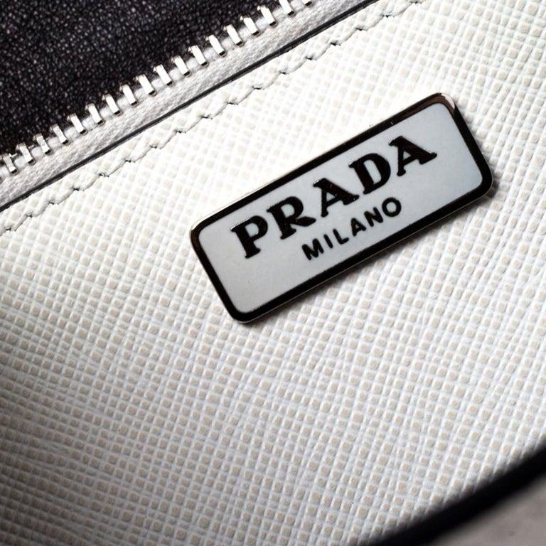 Prada Off White Studded Saffiano Leather Mini Sound Crossbody Bag For Sale 3