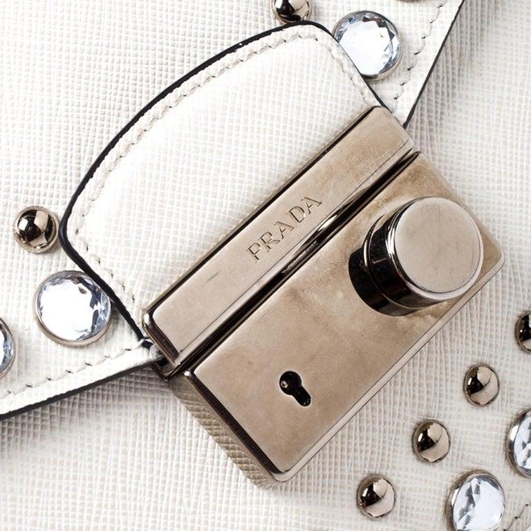 Prada Off White Studded Saffiano Leather Mini Sound Crossbody Bag For Sale 4