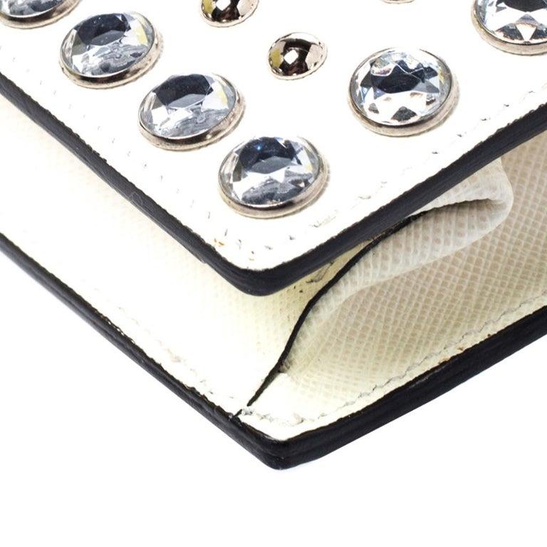 Prada Off White Studded Saffiano Leather Mini Sound Crossbody Bag For Sale 5