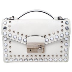 Prada Off White Studded Saffiano Leather Mini Sound Crossbody Bag