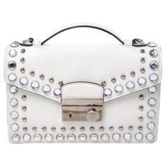 Prada Off White Studded Saffiano Leather Mini Sound Crossbody Bag