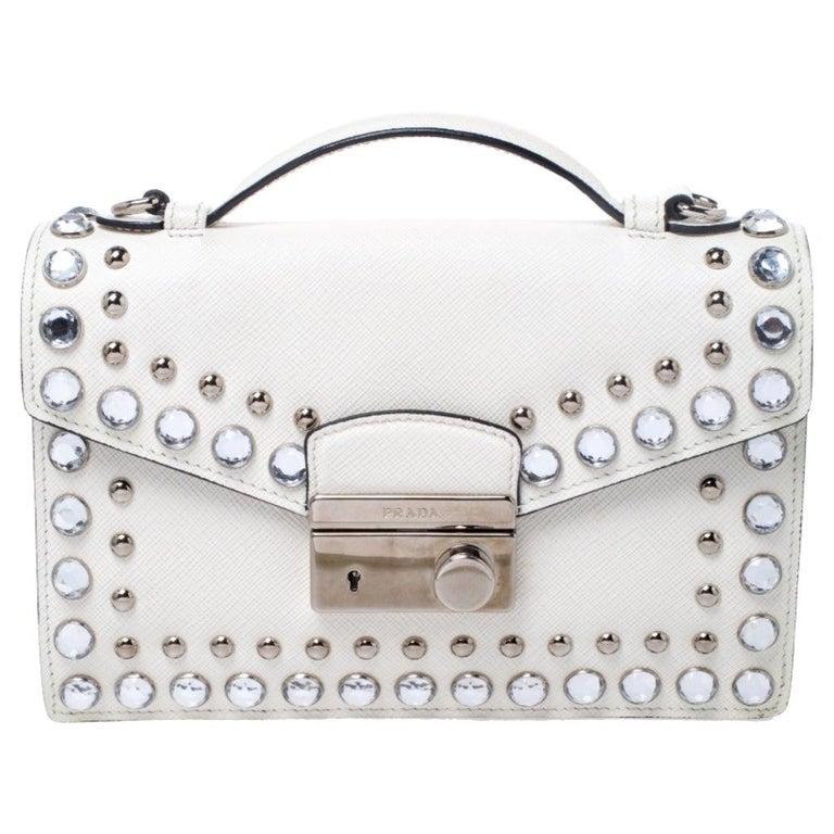 Prada Off White Studded Saffiano Leather Mini Sound Crossbody Bag For Sale