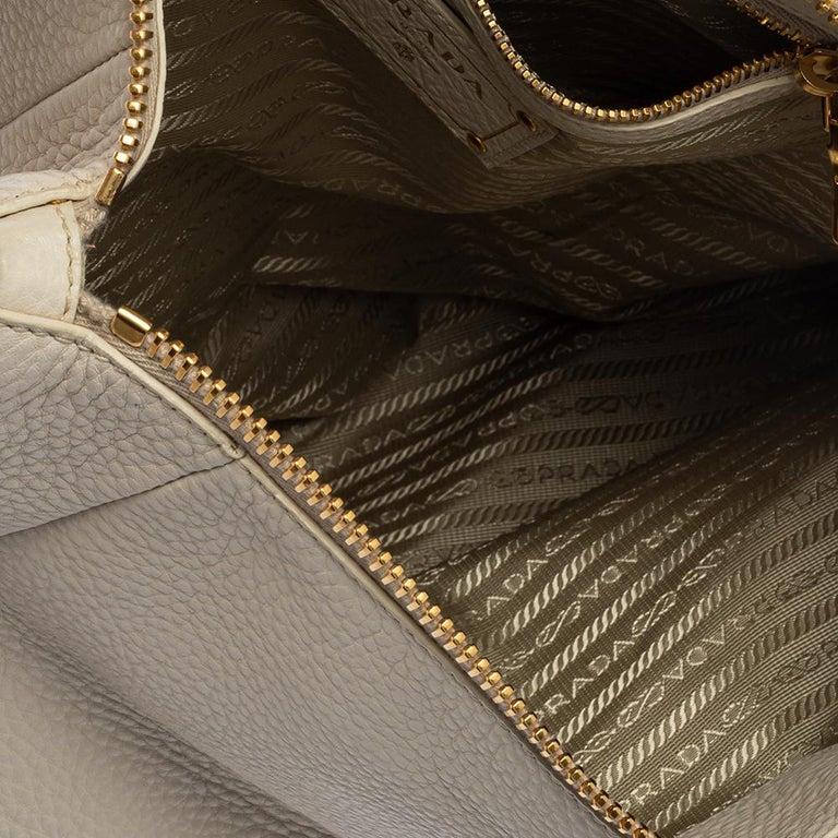 Prada Off White Vitello Daino Leather Zip Hobo For Sale 6