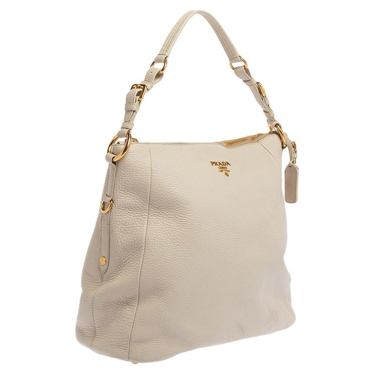 Women's Prada Off White Vitello Daino Leather Zip Hobo For Sale