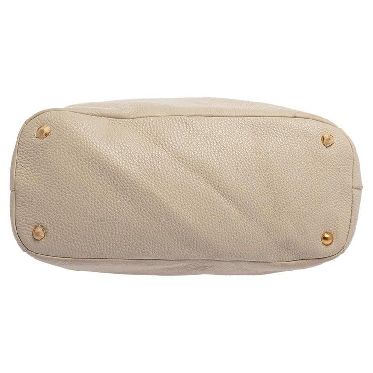 Prada Off White Vitello Daino Leather Zip Hobo For Sale 1