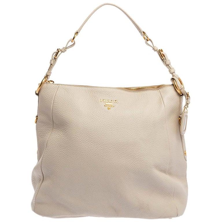 Prada Off White Vitello Daino Leather Zip Hobo For Sale