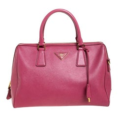 Prada Old Rose Saffiano Lux Leather Bowler Bag