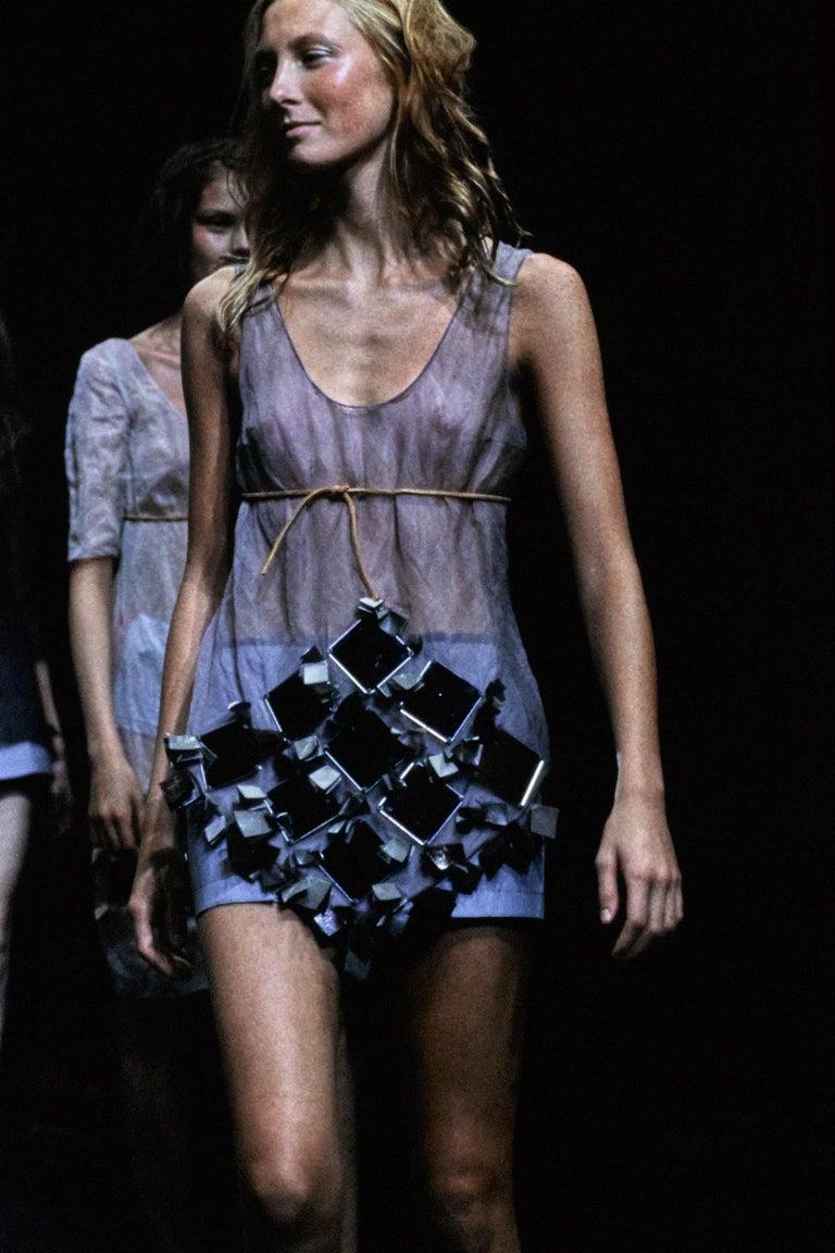 Black Prada olive crinkled silk organza and leather vest and skirt set, ss 1999 For Sale