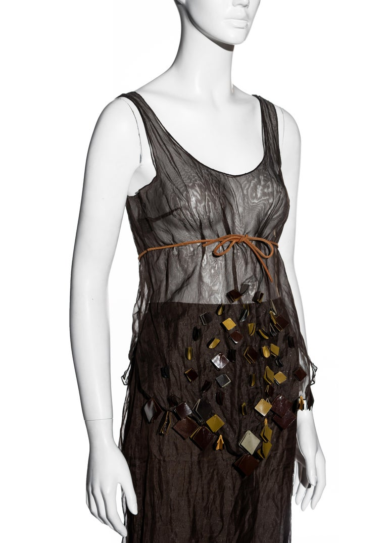 Prada olive crinkled silk organza and leather vest and skirt set, ss 1999 In Excellent Condition For Sale In London, GB