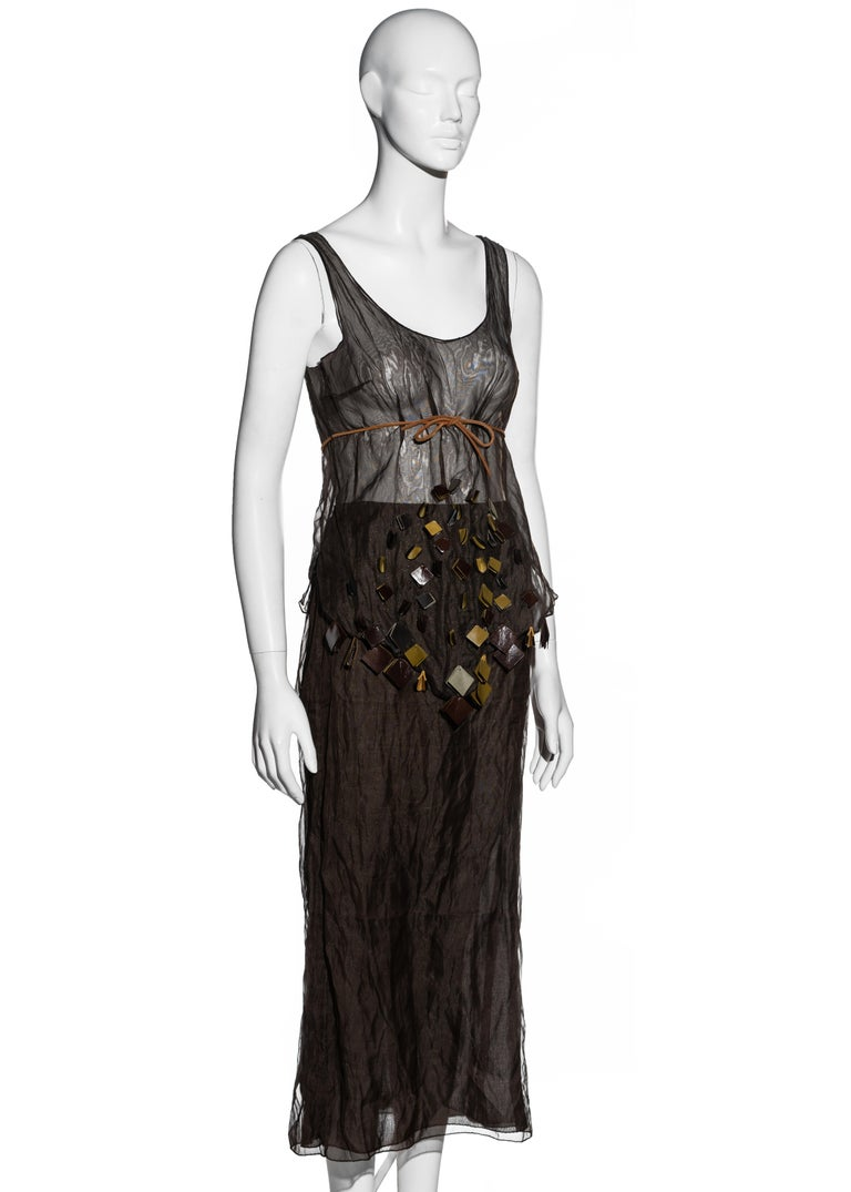 Prada olive crinkled silk organza and leather vest and skirt set, ss 1999 For Sale 1