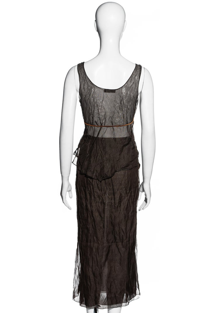 Prada olive crinkled silk organza and leather vest and skirt set, ss 1999 For Sale 3