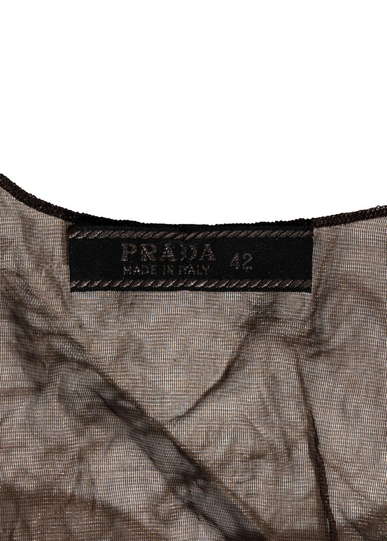 Prada olive crinkled silk organza and leather vest and skirt set, ss 1999 For Sale 4