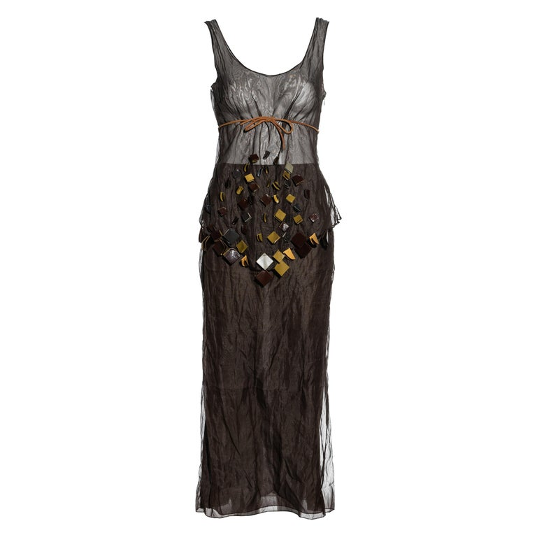 Prada olive crinkled silk organza and leather vest and skirt set, ss 1999 For Sale