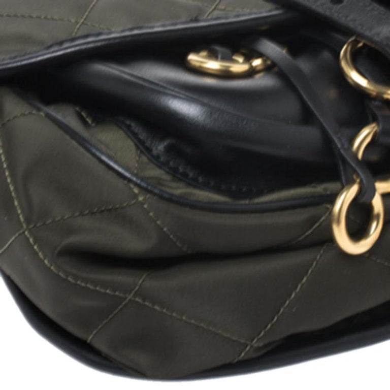 Prada Olive Green/Black Nylon and Leather Passaminiere Hunting Shoulder Bag For Sale 6
