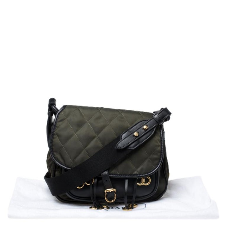 Prada Olive Green/Black Nylon and Leather Passaminiere Hunting Shoulder Bag For Sale 7