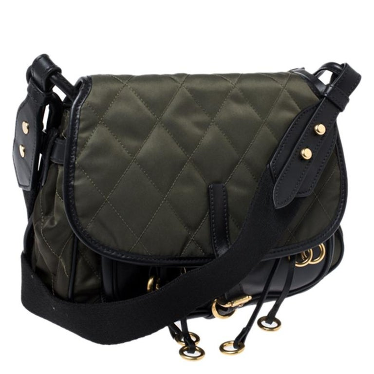 Women's Prada Olive Green/Black Nylon and Leather Passaminiere Hunting Shoulder Bag For Sale