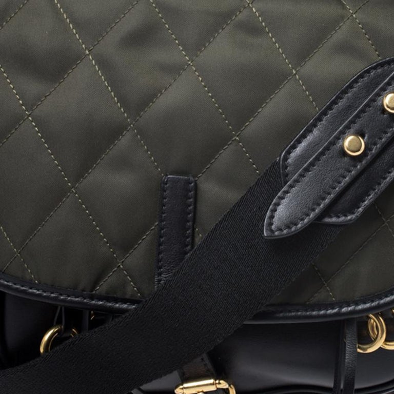Prada Olive Green/Black Nylon and Leather Passaminiere Hunting Shoulder Bag For Sale 4