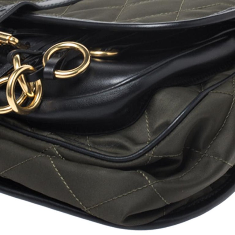 Prada Olive Green/Black Nylon and Leather Passaminiere Hunting Shoulder Bag For Sale 5