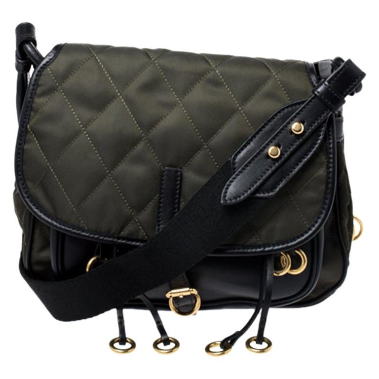Prada Olive Green/Black Nylon and Leather Passaminiere Hunting Shoulder Bag For Sale