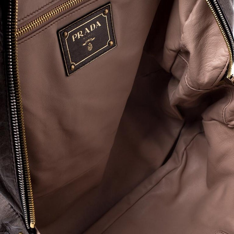 Prada Olive Green Leather Front Zip Boston Bag For Sale 1