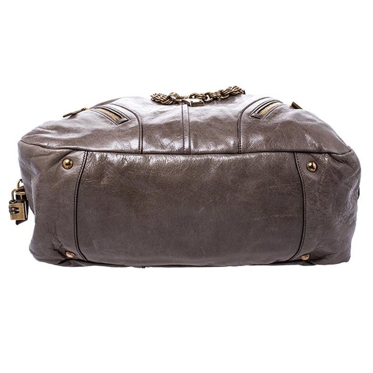 Prada Olive Green Leather Front Zip Boston Bag For Sale 2