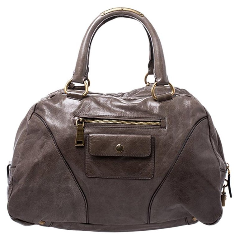 Prada Olive Green Leather Front Zip Boston Bag For Sale