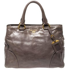 Prada Olive Green Leather Zipped Tote