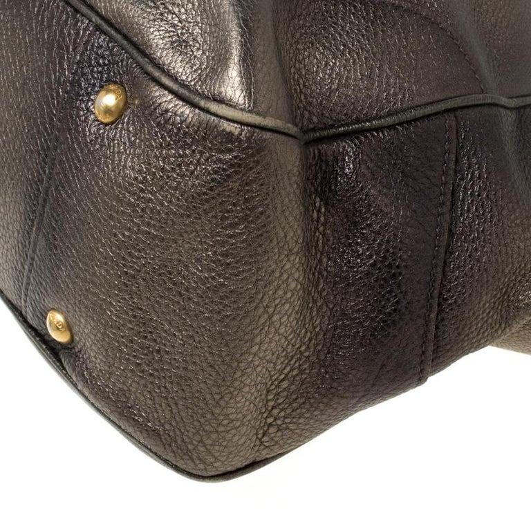 Prada Olive Green Metallic Vitello Daino Leather Hobo For Sale 4