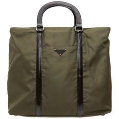 Prada Olive Green Nylon Leather-Trimmed Handbag