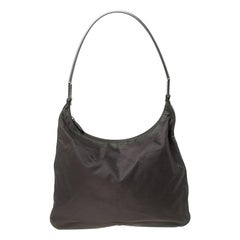 Prada Olive Green Nylon Metal Handle Hobo