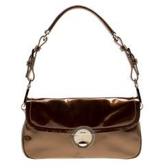 Prada Olive Green Patent Leather Shoulder Bag