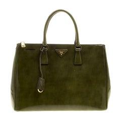 Prada Olive Green Patent Spazzolato Leather Large Double Zip Tote