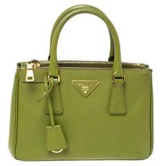 Prada Olive Green Saffiano Lux Leather Small Double Zip Tote