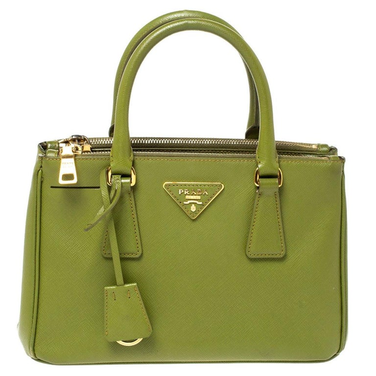 Prada Olive Green Saffiano Lux Leather Small Double Zip Tote For Sale
