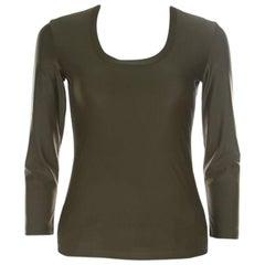 Prada Olive Green Silk Blend Pocket Detail Long Sleeve Top XS