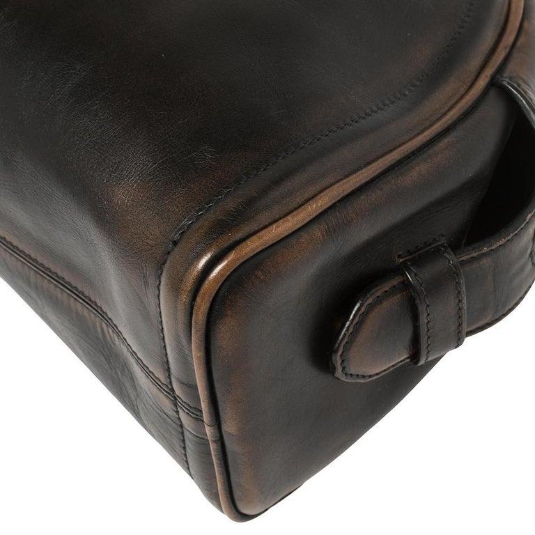 Prada Ombre Black Vitello Vintage Leather Large Dome Clutch For Sale 7