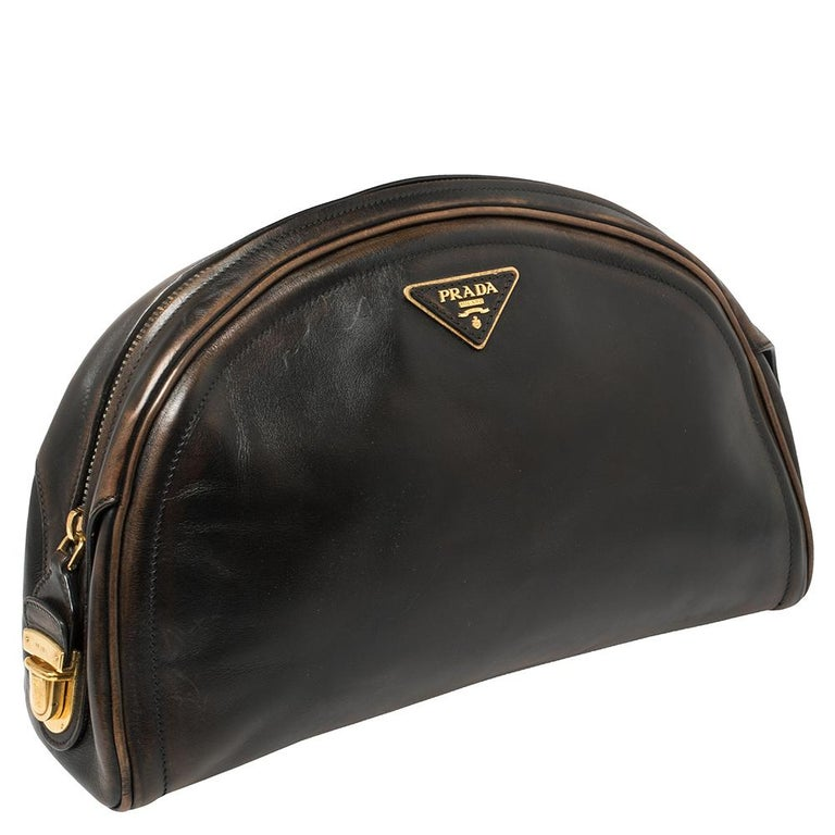 Women's Prada Ombre Black Vitello Vintage Leather Large Dome Clutch For Sale