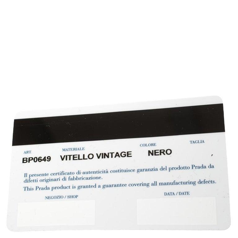 Prada Ombre Black Vitello Vintage Leather Large Dome Clutch For Sale 5