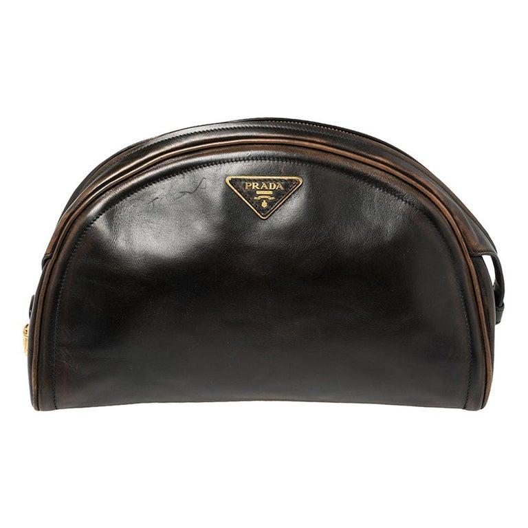 Prada Ombre Black Vitello Vintage Leather Large Dome Clutch For Sale