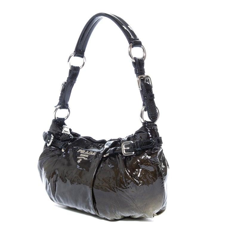 Black Prada Ombre Patent Baguette Shoulderbag  For Sale