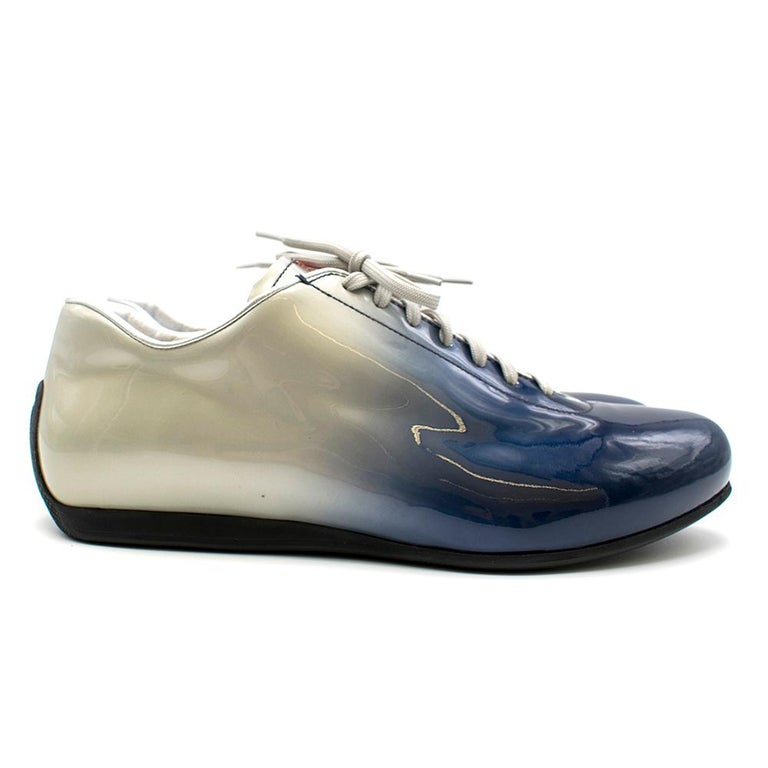 Prada Ombre Patent Leather Trainers SIZE 7.5 UK In Excellent Condition For Sale In London, GB