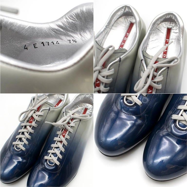 Prada Ombre Patent Leather Trainers SIZE 7.5 UK For Sale 4