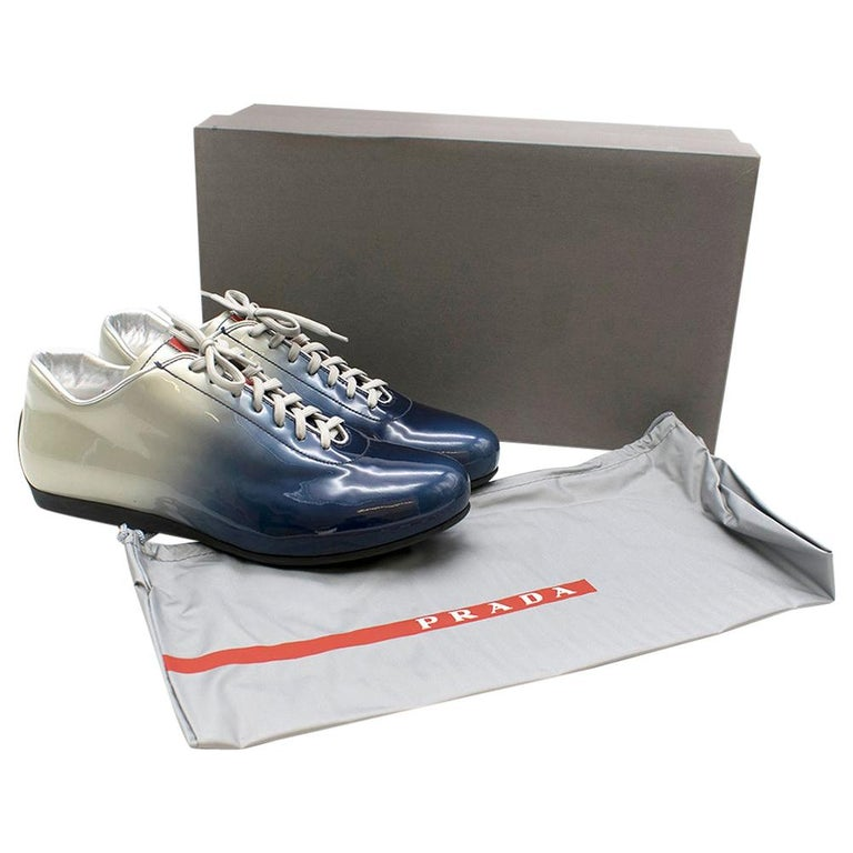 Prada Ombre Patent Leather Trainers SIZE 7.5 UK For Sale